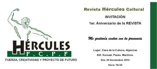 INVITACION 1ER ANIVERSARIO HERCULES 1