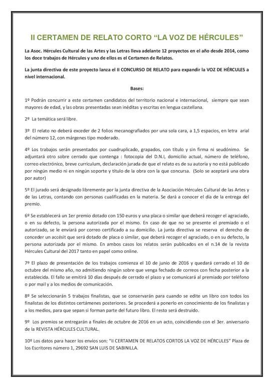 II CERTAMEN DE RELATO CORTO LA VOZ DE HÉRCULES 2016