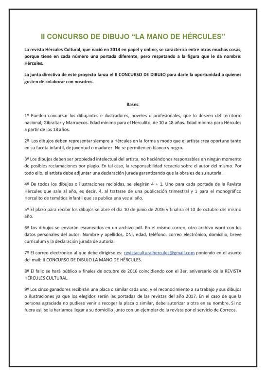 II CONCURSO DE DIBUJO LA MANO DE HÉRCULES